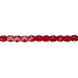 Bead, Czech Fire-polished Glass, Garnet Red, 4mm Faceted Round. Sold Per Pkg 1,200 (1 Mass) 152-19001-00-4mm-90110