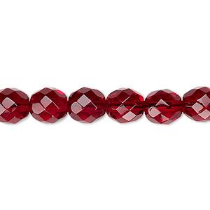 Bead, Czech Fire-polished Glass, Garnet Red, 8mm Faceted Round. Sold Per Pkg 600 (1/2 Mass) 152-19001-00-8mm-90110