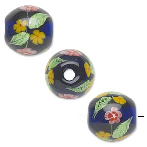Bead, Lampworked Glass, Semitransparent Cobalt Blue/red/yellow/green, 20mm Round Flowers. Sold Individually