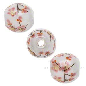 Bead, Lampworked Glass, Semitransparent White/orange/pink/tan, 20mm Round Cherry Blossoms. Sold Individually