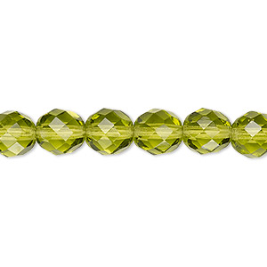 Bead, Czech Fire-polished Glass, Olivine, 8mm Faceted Round. Sold Per Pkg 600 (1/2 Mass) 152-19001-00-8mm-50230
