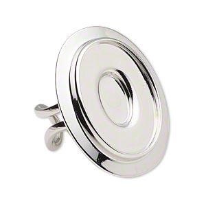 Ring Settings Imitation rhodium-plated Silver Colored