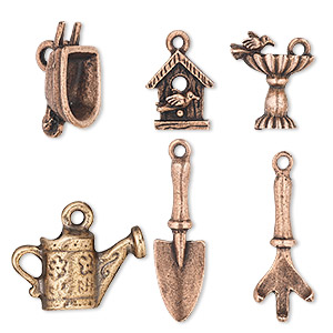 Charm Set, Antique Copper-plated Pewter (tin-based Alloy), 17x9mm-32x23.5mm Garden Theme. Sold Per 6-piece Set