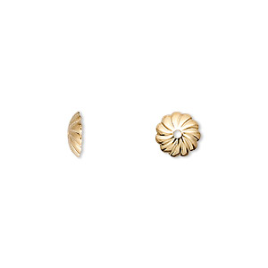 Bead Cap, Gold-plated Brass, 7x2mm Corrugated Round, Fits 7-9mm Bead. Sold Per Pkg 100