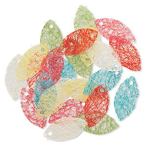 Earring card mix, hemp, mixed colors, 2-3/4 x 1-1/4 inch leaf. Sold per pkg of 24.