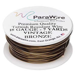 7 Yard Spool Vintage Bronze Colored 18 Gauge Permanently Colored Wire Round