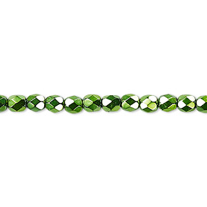 Bead, Czech Fire-polished Glass, Emerald Green Carmen, 4mm Faceted Round. Sold Per Pkg 1,200 (1 Mass) 152-19001-17-4mm-23980-70053