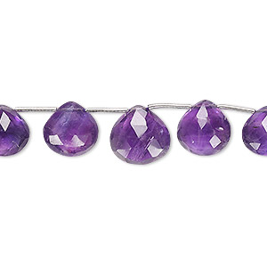 Bead, Amethyst (natural), 8x7mm-11x11mm Graduated Hand-cut Top-drilled Faceted Puffed Teardrop, B Grade, Mohs Hardness 7. Sold Per 4-inch Strand, Approximately 9 Beads 2623GE