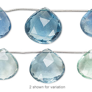 Bead, Blue-green Fluorite (natural), 12x12mm-18x18mm Graduated Hand-cut Top-drilled Faceted Puffed Teardrop, B Grade, Mohs Hardness 4. Sold Per Pkg 5 Beads 2632GE