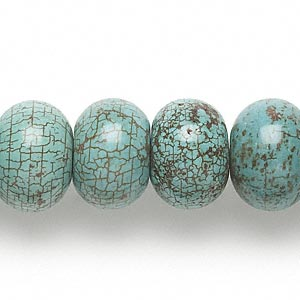 Bead, Magnesite (dyed / Stabilized), Blue-green, 15x11mm-16x12mm Rondelle, C Grade, Mohs Hardness 3-1/2 4. Sold Per 15-inch Strand