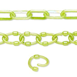 Chain, Plastic, Peridot Green AB, 7mm Oval 9mm Oval Link. Sold Per Pkg (5) 16-inch Sections