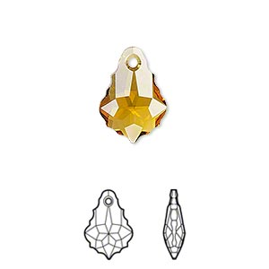 Drop, Swarovski® Crystals, Crystal Passions®, Topaz, 16x11mm Faceted Baroque Pendant (6090). Sold Individually 6090