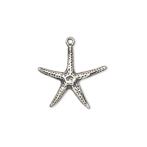 Charm, Sterling Silver, 20x19mm Starfish. Sold Individually