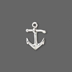 Charm, Sterling Silver, 14x11mm Anchor. Sold Individually