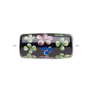 Bead, Lampworked Glass, Black / Clear / Multicolored, 30x14mm Cylinder Flowers, 3-4mm Hole. Sold Individually