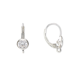 Earwire, Sterling Silver Cubic Zirconia, Clear, 17mm Leverback 6mm Faceted Round Open Loop. Sold Per Pair