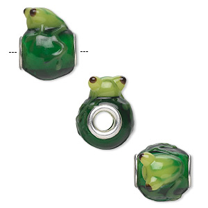 Bead, Dione®, Lampworked Glass Silver-plated Brass Grommets, Semitransparent Green / Light Green / Dark Green, 20x16mm Oval Frog, 5mm Hole. Sold Individually O518S-4410