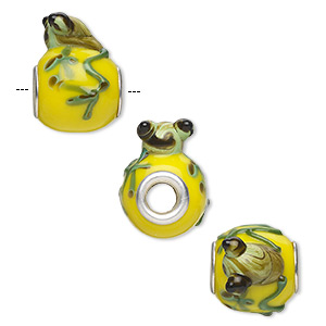 Bead, Dione®, Lampworked Glass Silver-plated Brass Grommets, Opaque Yellow / Dark Green / Brown, 20x16mm Oval Frog, 5mm Hole. Sold Individually O518S-4411