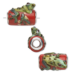 Bead, Dione®, Lampworked Glass Silver-plated Brass Grommets, Semitransparent Multicolored, 20x18mm Round Tube Swirled Frog Speckles, 5mm Hole. Sold Individually 0518S-4299