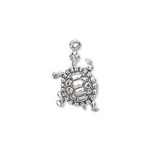 Charm, Sterling Silver, 17x13mm Turtle. Sold Individually