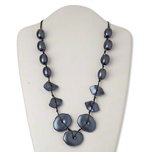 Necklace, Plastic / Waxed Cotton Cord / Silver-finished Steel, Black Dark Blue, Graduated Flat Oval, 25-inch Knotted 2-inch Extender Chain Lobster Claw Clasp. Sold Individually 2717JD