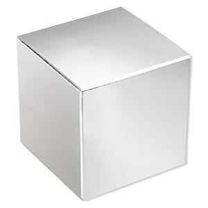 Gift Box, Paper, Shiny Silver, 3x3 Inch Square. Sold Per Pkg 3