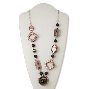 Necklace, Plastic / Acrylic / Silver-finished Steel, Black / Brown / Antique Copper, Open Round, 31-inch Continuous Loop. Sold Individually 2724JD