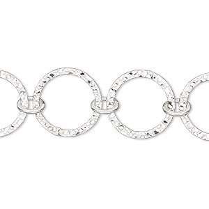 Chain, Sterling Silver-filled, 15mm Textured Flat Round. Sold Per Pkg 5 Feet