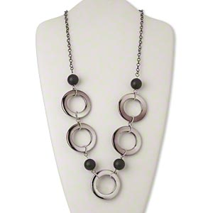 Necklace, acrylic / silver-coated plastic / silver- and