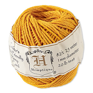 Cord, Hemptique®, polished hemp, gold, 1mm diameter, 20-pound test. Sold per 82-foot ball.