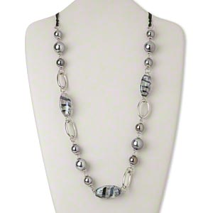 Necklace, Acrylic / Ribbon / Glass / Silver-coated Plastic / Silver-finished Steel, Black / Clear / Blue, Oval, 54 Inches Tie Closure. Sold Individually 2761JD