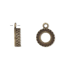 Drop, JBB Findings, Antiqued Brass, 11.5mm Round Open Back Filigree Edge, 10mm Round Setting. Sold Per Pkg 2 8091ABR