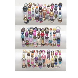Bracelet Mix, Stretch, Acrylic, Mixed Colors, 18-42mm Wide 5mm-32x27mm Mixed Shape, 6-1/2 Inches. Sold Per Pkg 10 2762SX