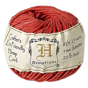 Cord, Hemptique®, polished hemp, red, 1mm diameter, 20-pound test. Sold per 82-foot ball.