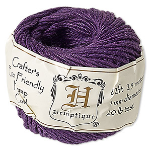 Cord, Hemptique®, polished hemp, dark purple, 1mm diameter, 20-pound test. Sold per 82-foot ball.