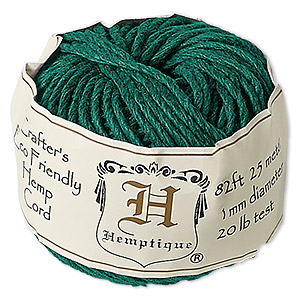 Cord, Hemptique®, polished hemp, green, 1mm diameter, 20-pound test. Sold per 82-foot ball.