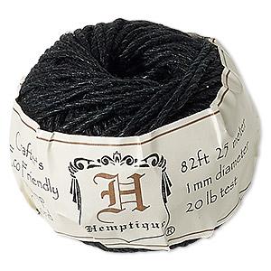 Cord, Hemptique®, polished hemp, black, 1mm diameter, 20-pound test. Sold per 82-foot ball.