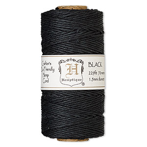 Cord, Hemptique®, polished hemp, black, 1.5mm diameter, 45-pound test. Sold per 229-foot spool.
