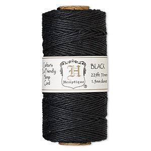 Cord, Hemptique®, polished hemp, black, 1.5mm diameter, 45-pound test. Sold per 229-foot spool.