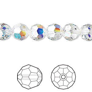 Bead, Swarovski® Crystals, Crystal Passions®, Crystal AB, 8mm Faceted Round (5000). Sold Per Pkg 12 5000