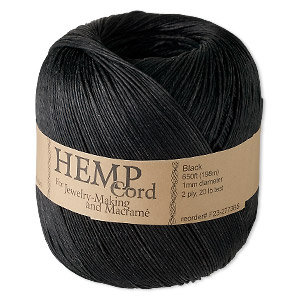 Cord, Hemptique®, polished hemp, black, 1mm diameter, 20-pound test. Sold per 650-foot ball.