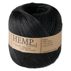 Cord, Hemptique®, polished hemp, black, 1mm diameter, 20-pound test. Sold per 650-foot ball.