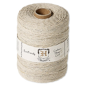 Cord, Hemptique®, polished hemp, natural, 1mm diameter, 20-pound test. Sold per 650-foot ball.