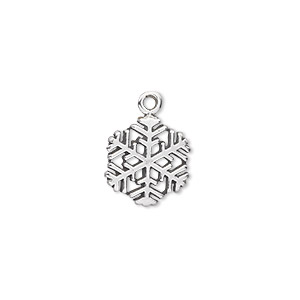 Charm, Sterling Silver, 13x12mm Snowflake. Sold Individually