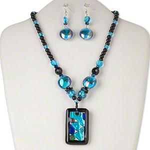 Necklace Earring, Glass / Lampworked Glass / Silver-finished Steel, Blue / Black / Green Silver-colored Foil, 53x34mm Rectangle, 18 Inches 2-inch Extender Chain Lobster Claw Clasp, 62x20mm Earring Fishhook Earwire. Sold Per Set 2801JD