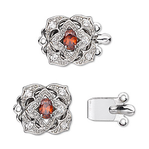 Box (Tab) Clasp Rhodium-plated Multi-colored