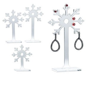 Display, Earring, Acrylic, Clear, (1) 5-5/16 X 1-1/8 X 2-inch, (1) 4-1/2 X 1-1/8 X 2-inch (1) 3-1/2 X 1-1/8 X 2-inch Snowflakes. Sold Per Set 3