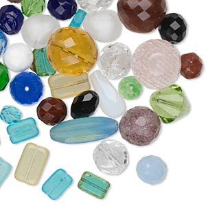 Bead Mix, Czech Fire-polished Glass, Mixed Colors, 8mm-27x12mm Mixed Shape. Sold Per 100-gram Pkg, Approximately 40 Beads