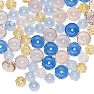 Bead Mix, Czech Fire-polished Glass, Mixed Colors, 5x4mm-7x4mm Faceted Rondelle. Sold Per Pkg 100