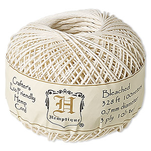 Cord, Hemptique®, polished hemp, bleached, 0.5mm diameter, 10-pound test. Sold per 328-foot ball.